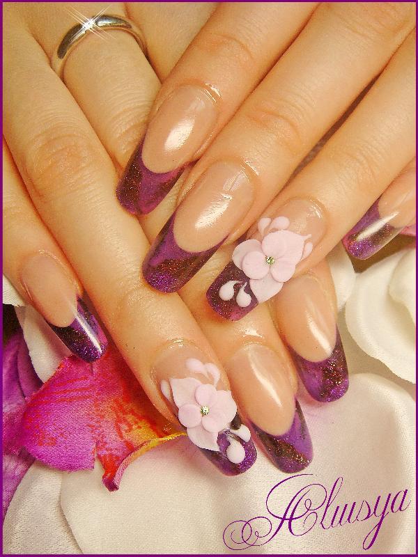 Ногти дизайн френч фиолетовый